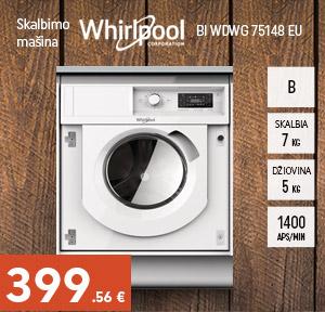 Įmontuojama skalbimo mašina-džiovyklė Whirlpool BI WDWG 75148 EU