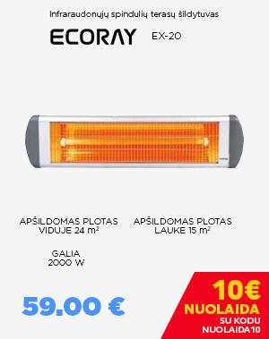 Infraraudonųjų spindulių šildytuvas EX-20 ECORAY